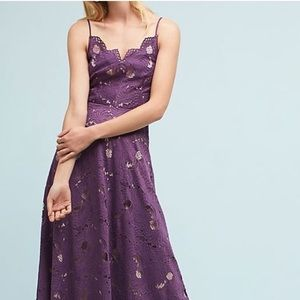 Anthropologie Dresses - Anthropologie Purple Scalloped Lace Dress